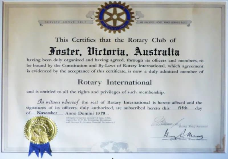 Foster Rotary certificate